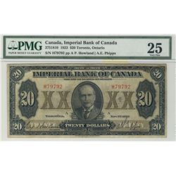 Imperial Bank of Canada 1923 $20 #H79792 CH-375-18-10 PMG VF25.