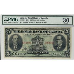 Royal Bank of Canada 1913 $5 #4980690 CH-630-12-04 PMG VF30.
