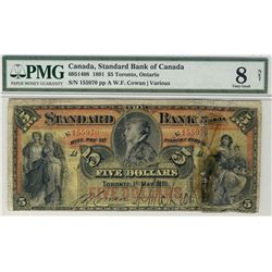 Standard Bank of Canada 1891 $5 #155970 CH-695-14-08 PMG VG8 Net.  Designated reconstructed.  Repair