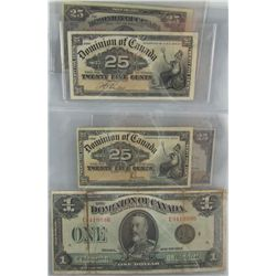 1900 25¢ DC-15b & DC-15c, 1923 25¢ DC-24b, DC-24c & DC-24d along with 1923 $1 DC-25o.  Lot of 6 note