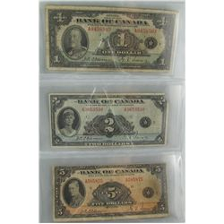 1935 $1 BC-1a, $2 BC-3 & $5 BC-5.  Lot of 3 notes VG to fine.  $2 missing top right corner.