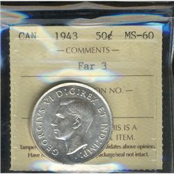 1943 50¢ Far 3 ICCS MS60.
