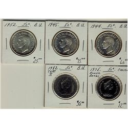 1944 50¢, 1945, 1952, 1978RB & 1982 Ty II.  Lot of 5 coins all BU.  (PBA)