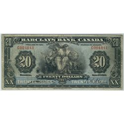 The Barclays Bank 1929 $20 #C004041 CH-30-10-06 PMG F15, Excessively scarce and rarely offered. Only