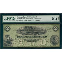 The Bank of Brantford 1859 $2 #3846 CH-40-10-02-04 PMG AU55 Net. Designated with tear.