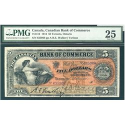 The Bank of Commerce 1912 $5 #635966 CH-75-14-12 PMG VF25. PQ for grade. The best ever handled by us