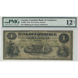The Canadian Bank of Commerce 1870 $4 #102595 CH-75-10-06 PMG F12 Net. A solid Fine example which de