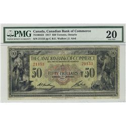 The Canadian Bank of Commerce 1917 $50 #21153 CH-75-16-04-22 PMG VF20. Scarce in this condition.