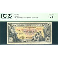The Canadian Bank of Commerce 1935 $20 #099855 CH-75-18-10 PCGS VF20.