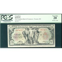 The Canadian Bank of Commerce 1935 $5 #387473 CH-75-18-02 PCGS VF20.