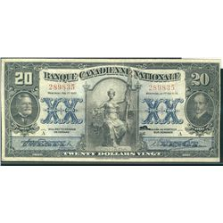 La Banque Canadienne Nationale 1925 $20 #289835 CH-85-10-06. Solid VF issue with minor tear in upper
