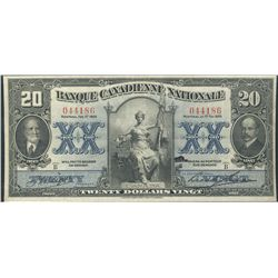 La Banque Canadienne Nationale 1929 $20 #044186 CH-85-12-06. Nice Bright and sharp VF issue.