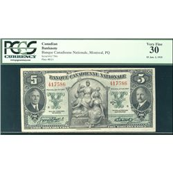 La Banque Canadienne Nationale 1935 $5 #417586 CH-85-14-02 PCGS VF30.