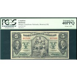 La Banque Canadienne Nationale 1935 $5 #467890 CH85-14-02 PCGS EF40PPQ.