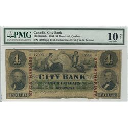 The City Bank 1857 $4 #17996 CH-110-14-06-06a PMG VG10. The only example seen by the cataloguer and