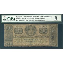 Commercial Bank of New Brunswick 1860 $1 (5s) CH-180-16-02 PMG VG8.