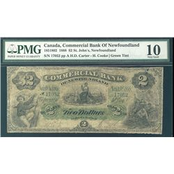 Commercial Bank of Newfoundland 1888 $2 (St. John's) #17052 CH-185-18-02 PMG VG10.