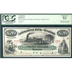 The Commercial Bank of Windsor 186_ $20 #0000 CH-195-10-02S. Specimen