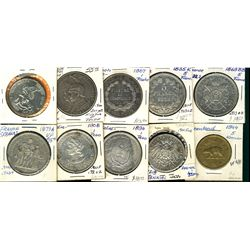 World Crowns & Coinage. Includes El Salvador 1894, 1908 Peso, France 1873A, 1869BB, 1835K 5 francs,