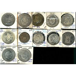 World Crowns & Coinage. Includes Mexico 1885 8 Reales, 1947 1 Peso, 1952(2) 5 Peso, 1962 1 Peso, 196