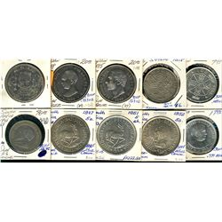 World Crowns & Coinage. Includes Spain 1871, 1885, 1888 5 Pesetas, 1966(2) 100 Pesetas, South Africa