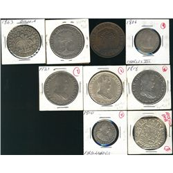 World Coinage. Includes Mexican 8 Reales 1818, 1819, 1921, Bolivia 1863 8 Soles, Honduras 1862 8 Pes