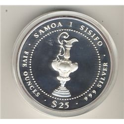 World Mint product from the Singapore Mint, 5 troy oz coin commemorating the 1987 America's Cup Chal