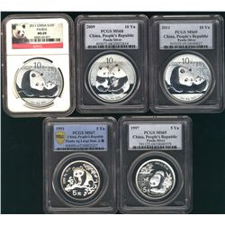 China, People's Republic 1993 Silver Panda 5Yn Lg Date MS67, 1997 MS69, 2009 10Yn MS68 & 2011 MS69(2