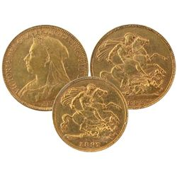 Great Britain Gold coins. Lot includes 1897 1/2 Sovereign & 1893 Sovereign. Lot of 2 coins. (,353oz)