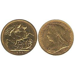 Great Britain Gold 1900 Sovereign, EF. (,235 oz)