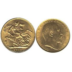 Great Britain Gold 1910 Sovereign, lustrous UNC. (,235 oz)