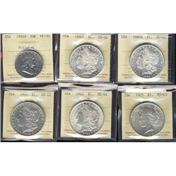 US 1951D 50¢, $1 1880S(2) MS64, 1903 MS60, 1921 MS64 & 1925 MS63. Lot of 6 pcs all ICCS graded with