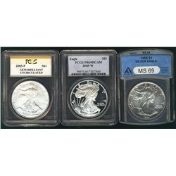 USA Silver Eagles, 2005-P Gem Brilliant & 2005-W PR69DCAM both PCGS and 1988 ANACS MS69. Lot of 3 co