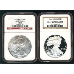 USA Silver Eagles, 2006 First Strike MS69 & 2006-W PF69 Ultra Cameo. Lot of 2 NGC coins.