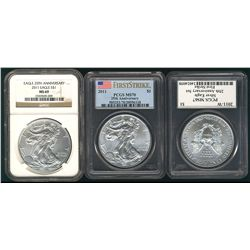 USA Silver Eagles, 2011 NGC MS69, 2011 PCGS MS70 & 2011-W PCGS MS67. Lot of 3 coins.