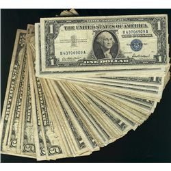 USA 1935 $1 circ notes. Includes Series D(22), E(43) & F(3). Also includes circ 1957 $1, 1934D $5(4)