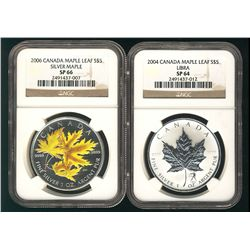 RCM 2004 $5 Libra SP64 & 2006 Silver Maple Colour SP66. Lot of 2 NGC graded coins.