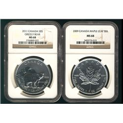 2009 $5 SML & 2011 SML Grizzly Bear NGC MS68. Lot of 2 coins.