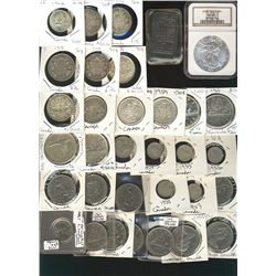 Bullion lot, includes Canadian coins Pre 1966, 10¢(5), 25¢(2), 50¢(9), $1(4), J&M 1oz bar & US 2003