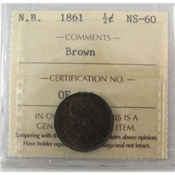 N.B. 1861 1/2¢ ICCS MS60, Brown.