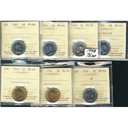 1943T(2) 5¢ MS63, 1948, 1952, 1954 SF MS64, 1951 LR MS62 & 1962 PL64. Lot of t coins.