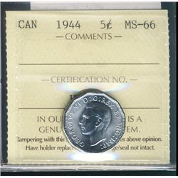 1944 5¢ ICCS MS66. Pristine lustre and clean fields.