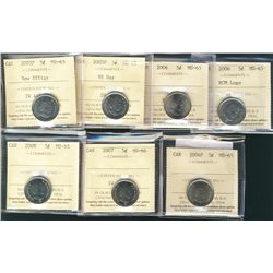 2003P 5¢ NE, 2005P VF Day, 2006, 2006 Logo, 2006P, 2008 all MS65 & 2007 MS66. Lot of 7 coins all ICC