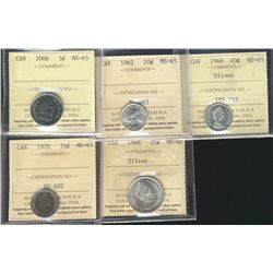 2006 5¢, 1962 10¢, 1968 Silv, 1970 & 1968 Silv 25¢. Lot of 5 coins all ICCS MS65 except 1968 25¢ ICC