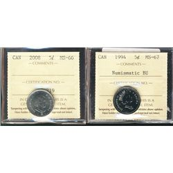 2008 5¢ MS66 & 1994 MS67NBU. Lot of 2 coins.