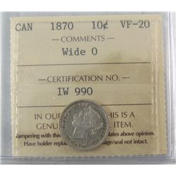 1870 10¢ Wd 0 ICCS VF20.