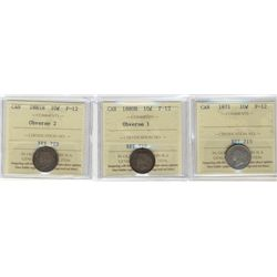 1871 10¢, 1880H & 1881H ICCS F12. Lot of 3 coins.