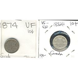 1874H 10¢ & 1882H. Lot of 2 coins Fine to VF.