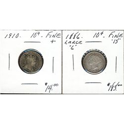 1886 Lg 6 & 1910 10¢. Lot of 2 coins both Fine+. (PBA).