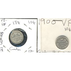 1891 10¢ 21 Lvs & 1900 Fine to VF. Lot of 2 coins.